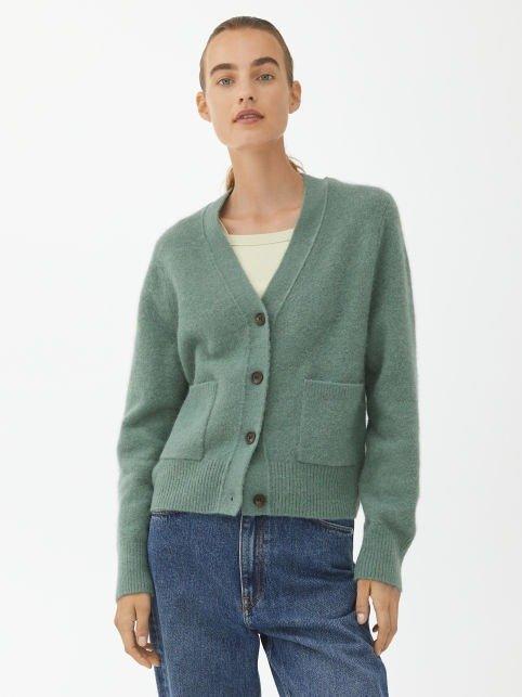 绿色针织衫外套