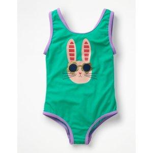 BodenApplique Swimsuit - Jungle Green Bunny | Boden US