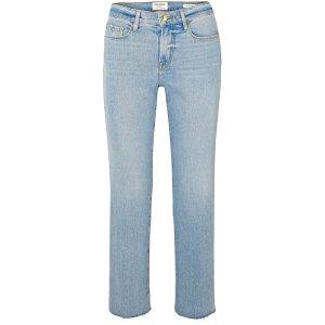 FRAMELe Nouveau cropped mid-rise straight-leg jeans