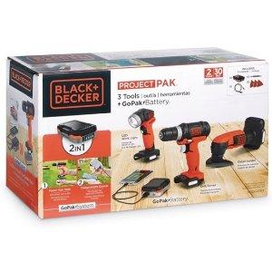 Black+Decker 电动工具套装,含电钻、LED电筒、砂光机等