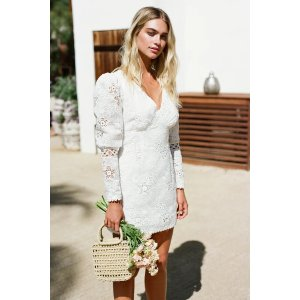 LULUSBlissful Times White Embroidered Lace Puff Sleeve Mini Dress