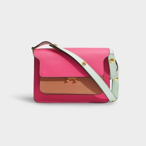 MarniTrunk Bag in Pink, Brown and Yellow Calfskin
