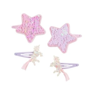 Oshkosh4-Pack Unicorn & Flip Sequin Star Hair Clips