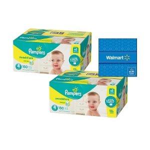 Pampers买2送$15礼卡Swaddlers 婴儿纸尿裤2箱装,价格随尺寸变化