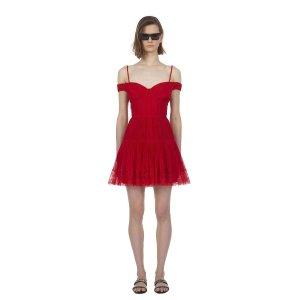 Self PortraitDark Red Off Shoulder Pleated Chiffon Mini Dress