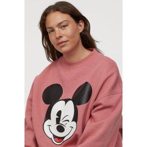 H&M粉色米奇长袖圆领卫衣
