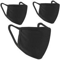 2层纯棉黑色口罩 可水洗 3只装