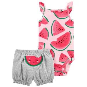 Carter's降价婴儿西瓜背心包臀衫+短裤套装