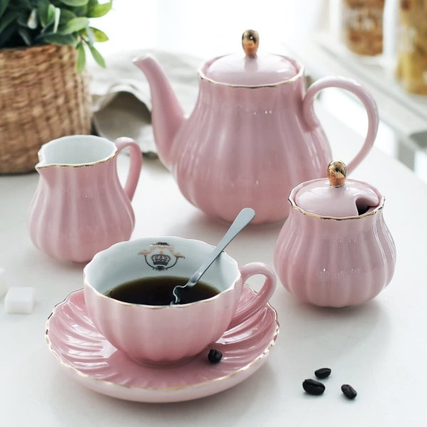 Pukka Home 超美陶瓷茶壶茶杯6组套装 粉色