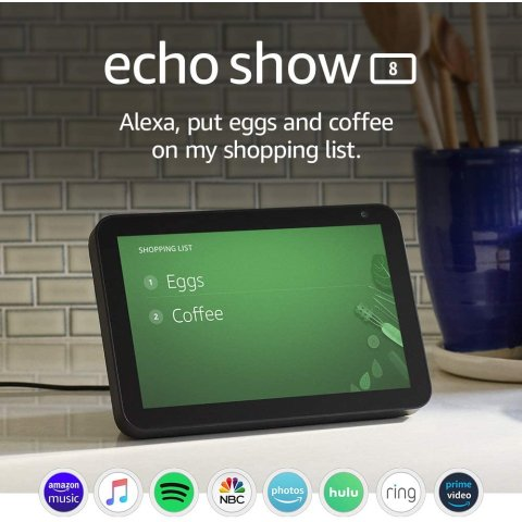 Echo Show 8 -- HD smart display with Alexa – stay connected with video calling