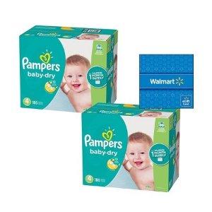 Pampers$15礼卡Baby-Dry 婴儿纸尿裤2箱装,价格随尺寸变化