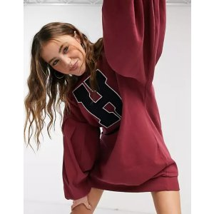 20% off $50oversized balloon sleeve sweat mini dress with letter graphic in burgundy and navy