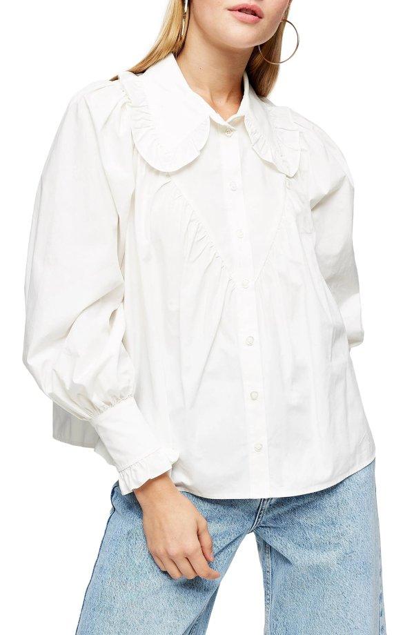 娃娃领白衬衫