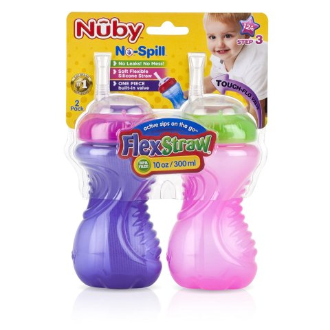 Roll over image to zoom in Nuby No-Spill Cup with Flex Straw, 10 Ounce, Pink and Purple