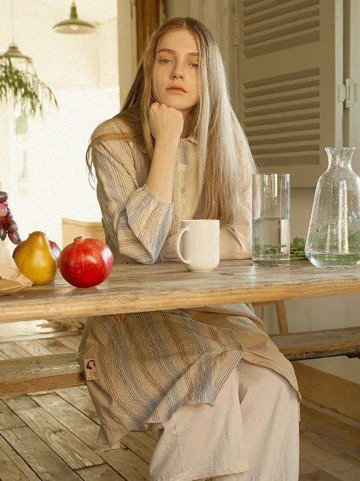 森系条纹睡裙