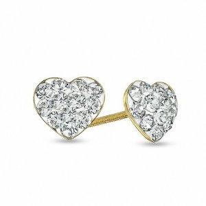 Child's Crystal Heart Earrings in 14K Gold|Zales