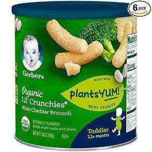 7.5折+额外9.5折Organic Lil' Crunches 有机奶酪西蓝花味膨化条,6罐装