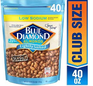 40oz超大包装仅$10.98Blue Diamond Almonds 美国大杏仁低盐健康款