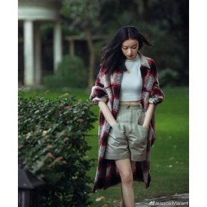 Isabel Marant Etoile混羊毛格纹大衣