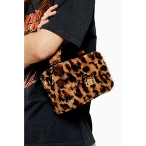 TopshopFIZZ Leopard Faux Fur Box Grab Bag