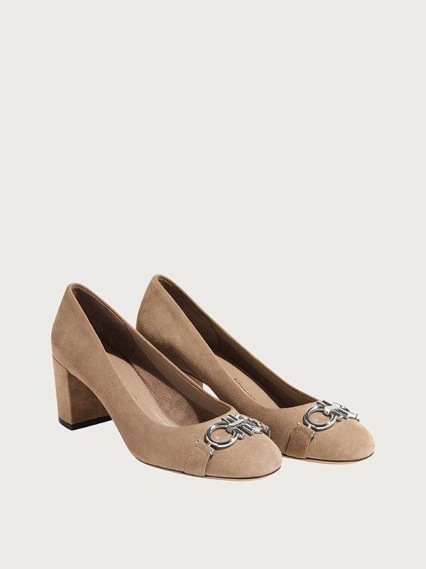 Gancini court 粗跟鞋