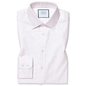 Charles TyrwhittSlim fit brushed-back basketweave pink stripe shirt