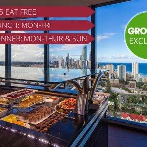 $55(原价$71)皇冠假日顶楼黄金海岸 360度全景餐厅 豪华海鲜自助
