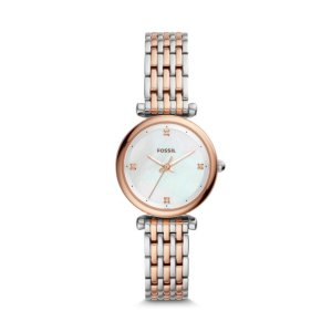 FossilCarlie Mini Three-Hand Two-Tone Stainless Steel Watch