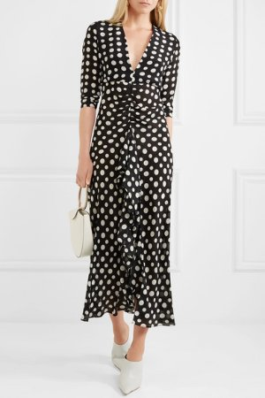 RIXO London | Adriana ruffled polka-dot silk-crepe midi dress | NET-A-PORTER.COM