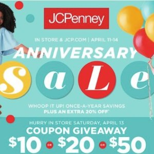 $10 off $10 or $20 off $20 or $50 off $50Anniversary Sale buy 1 get 1 for $0.01 @ JCPenney