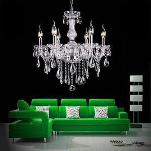 TOPS Crystal Lamp Fixture Pendant 6 Lights Ceiling Chain Candle Chandelier