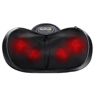 $25 NURSAL Shiatsu Neck Pillow Massager, 3D Deep Kneading Massage Pillow with Heat Spa Therapy and Warm Hand Bag for Neck, Shoulder and Back Fatigue, Stiffness and Pain Relief