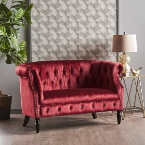 HouzzMelaina Tufted Chesterfield Velvet Loveseat With Scrolled Arms - Traditional - Loveseats - by GDFStudio