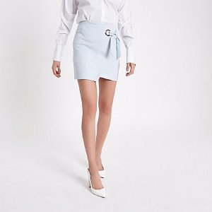 River IslandBlue wrap eyelet tie-up mini skirt - Skirts - Sale - women