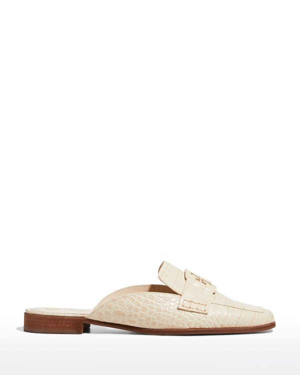 鳄鱼压纹穆勒鞋