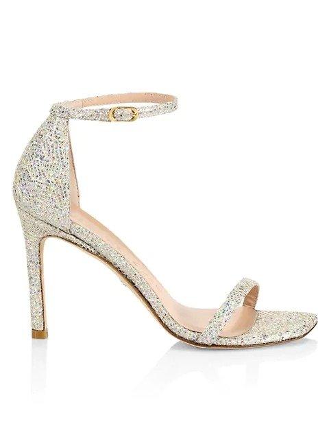Amelina Metallic 方根一字带凉鞋