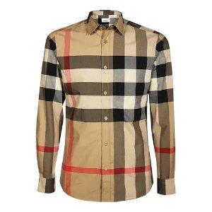 BurberryL码经典格纹长袖衬衫