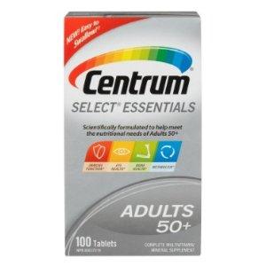 $9.47(原价$14.32)送爸妈健康好礼~善存Centrum Select Essentials 50+复合维生素,100粒