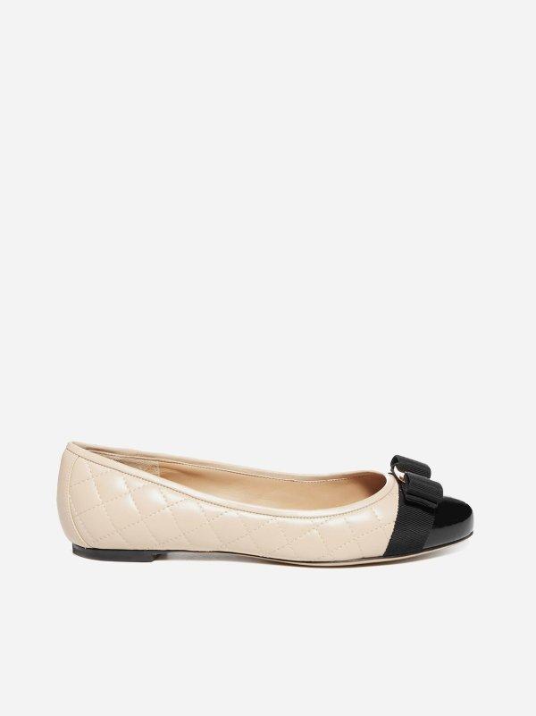 Varina quilted蝴蝶结平底鞋