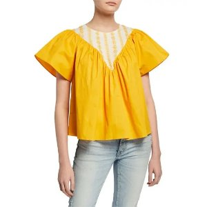 English FactoryEmbroidered Twill Combo Top