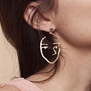 $7.99 Zealmer Statement Human Face Shaped Earrings Hollow Out Dangling Color Gold Stud Earrings @ Amazon