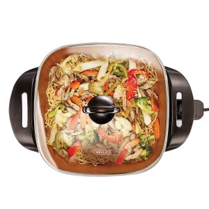 BELLA 12 x 12 inch Electric Skillet with Copper Titanium Coating, 1200 Watts