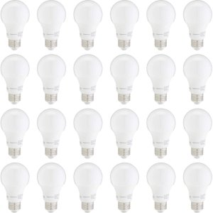 AmazonBasics 60W Equivalent, Soft White, Non-Dimmable, 10,000 Hour Lifetime, A19 LED Light Bulb | 24-Pack