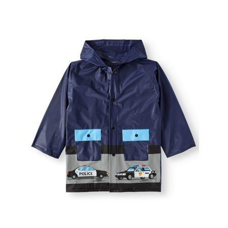 警车深蓝色儿童雨衣