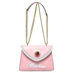 Moschino少女粉草莓蕾丝斜挎包