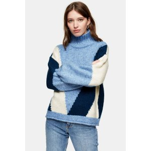 TopshopKnitted Colour Block Jumper