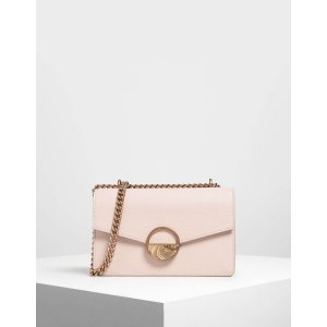 Charles & KeithPink Round Plaque Detail Mini Shoulder Bag | CHARLES & KEITH US