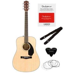$109.99 No tax + 3mo. Fender Play Fender CD-60S 6-String Acoustic Guitar Dreadnought Pack