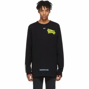 newest 35579 84310 Off-White- Black Long Sleeve Firetape T-Shirt