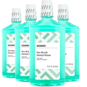 Solimo Dental Rinse, Green Mint, 16 Floz (Pack of 4)